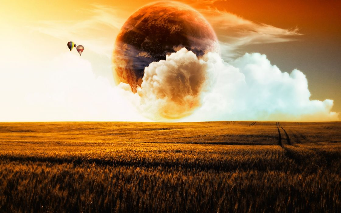 Landscapes planets fields balloons wallpaper