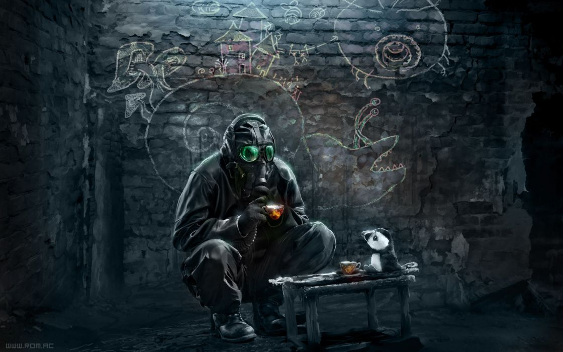 Paintings gas masks digital art science fiction tea party airbrushed romantically apocalyptic vitaly s alexius wallpaper
