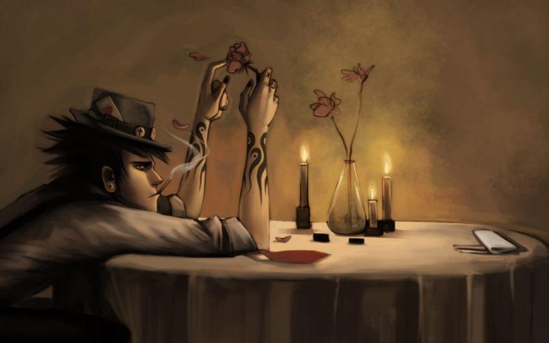 Smoking paintings men wallpaper
