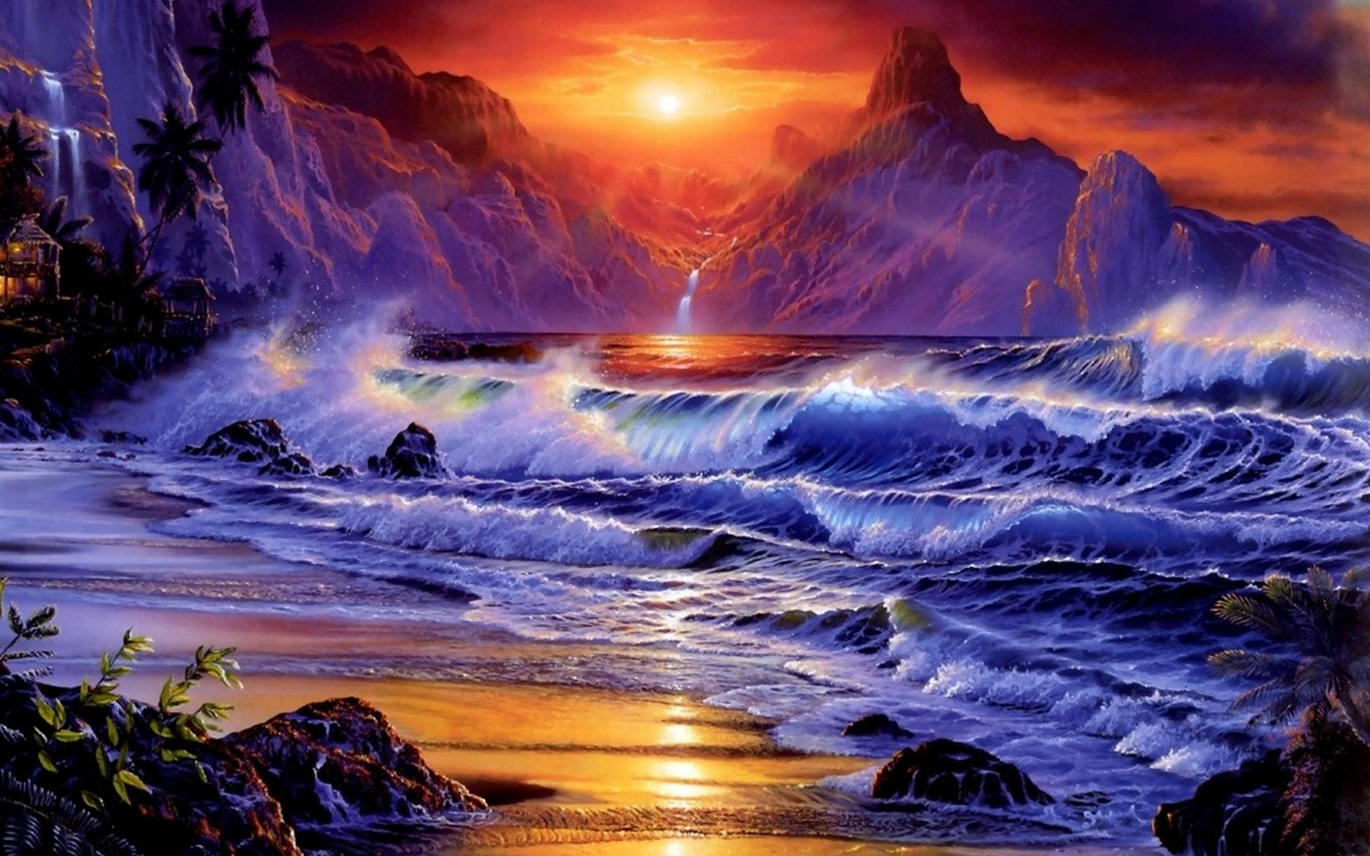Sunset ocean waves fantasy art artwork wallpaper ...