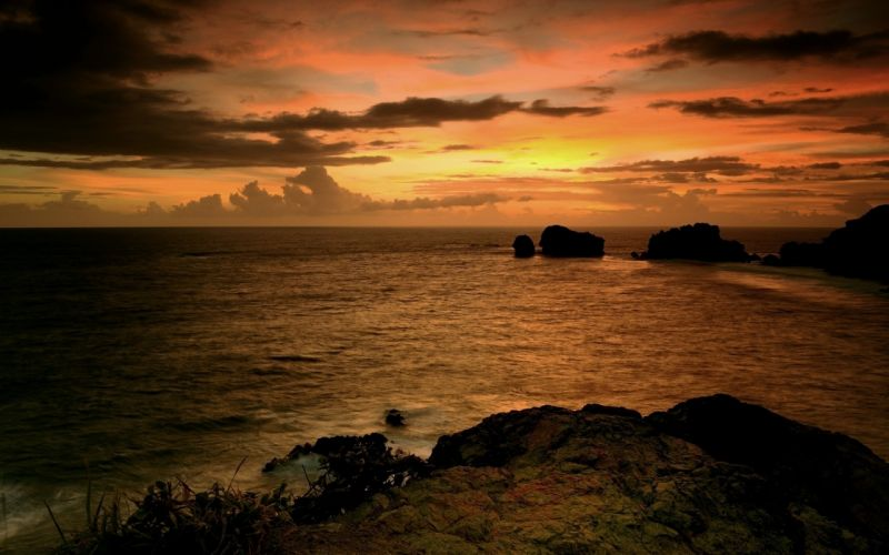 Water clouds landscapes horizon seas dusk skyscapes wallpaper
