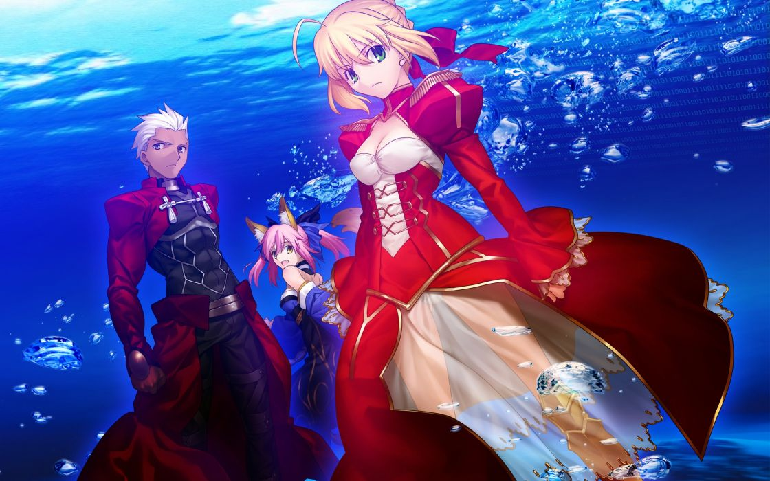 Anime boys saber  anime girls archer (fatestay night) fateextra saber extra fate series caster (fateextra) wallpaper