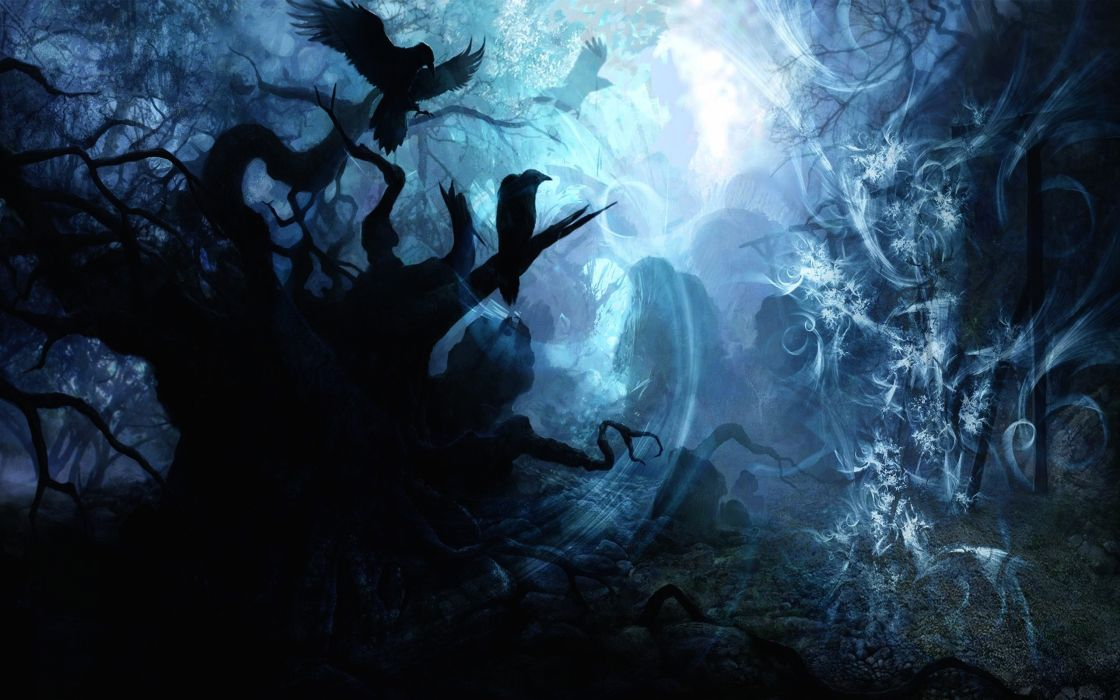 Landscapes fantasy art nighttime wallpaper
