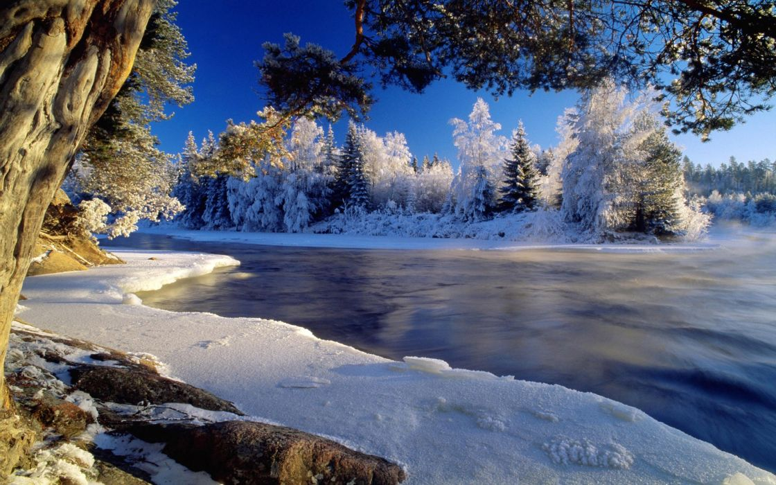 Water landscapes nature snow trees wallpaper
