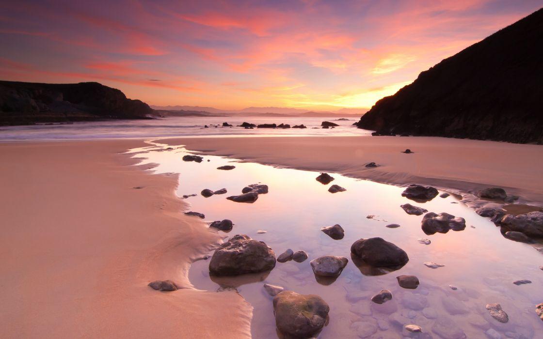 Sunset mountains landscapes beach wallpaper
