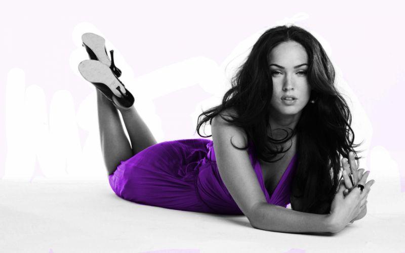 Brunettes women megan fox actress models celebrity selective coloring wallpaper