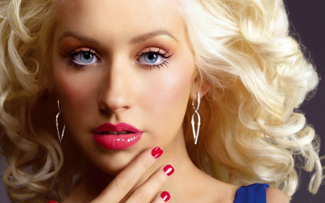 Blondes women blue eyes christina aguilera faces wallpaper