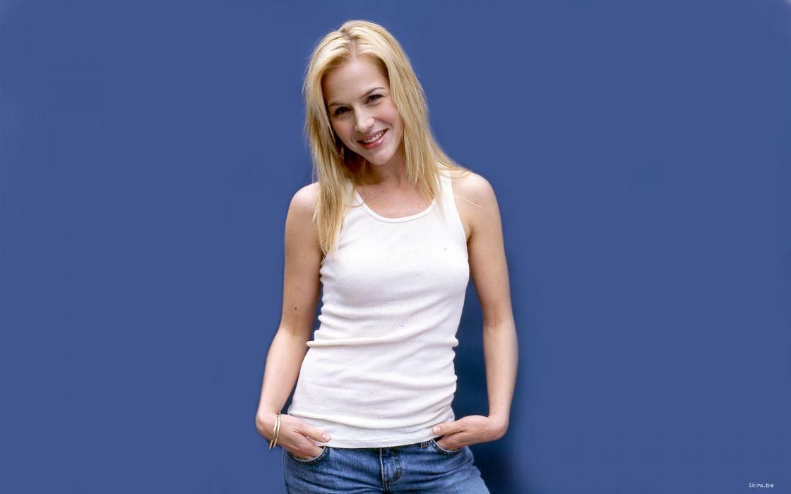 Blondes women julie benz people blue background wallpaper