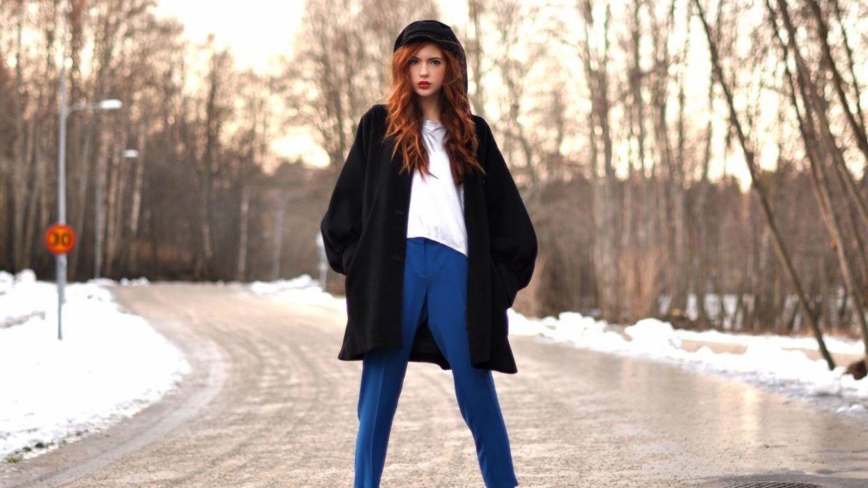 Women snow redheads sweden roads ebba zingmark wallpaper