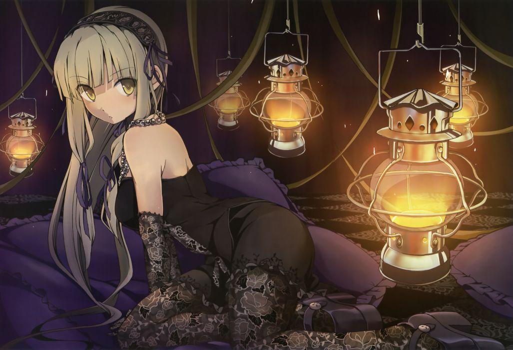 Blondes long hair lace anime girls avenue lantern wallpaper
