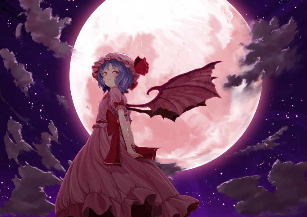 Video games clouds touhou wings dress night stars moon purple hair short hair bows red dress skyscapes pink dress full moon remilia scarlet wallpaper