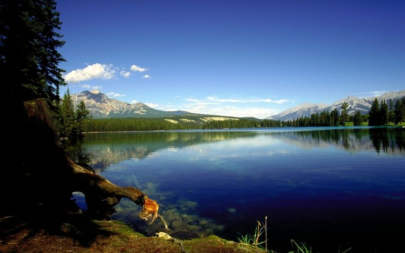 Mountains landscapes nature trees lakes rivers wallpaper