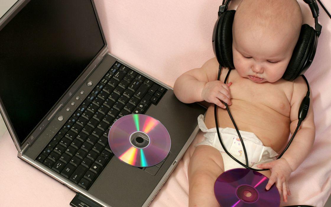 Headphones music baby kids technology laptops disc wallpaper