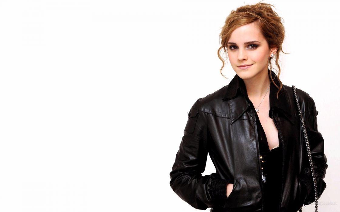 Women emma watson actress leather jacket wallpaper