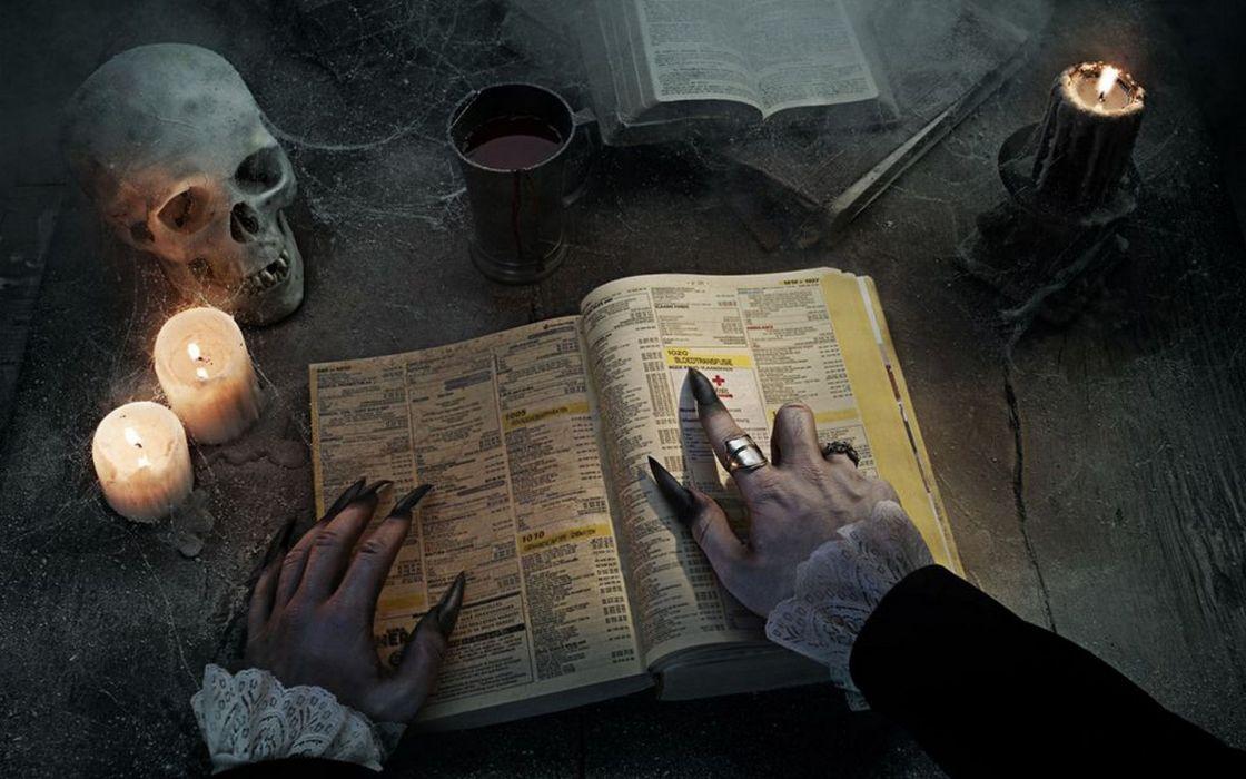 Fantasy skulls vampires nails candles witches wallpaper