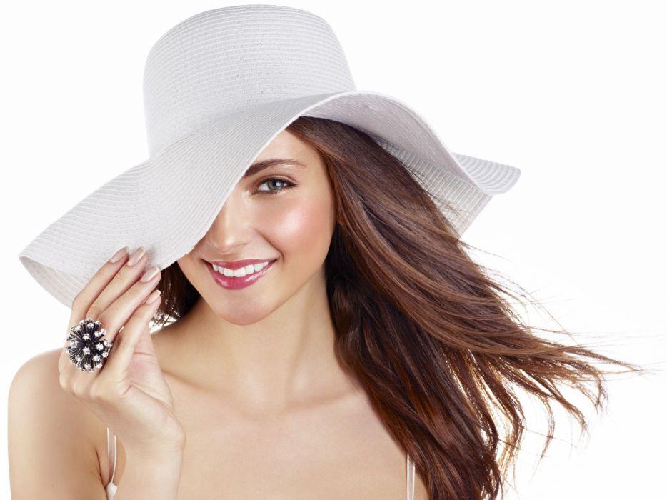 Brunettes women rings smiling teeth hats white background red lips wallpaper