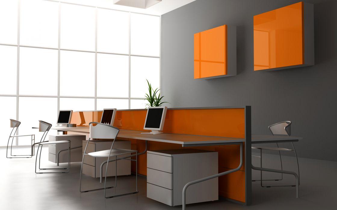 Office interior wallpaper