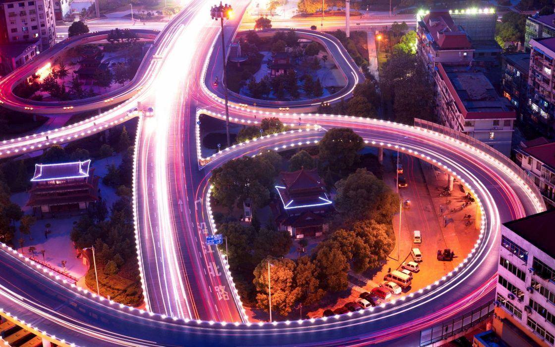 Cityscapes streets night long exposure wallpaper