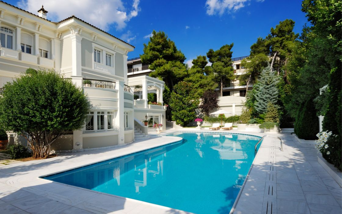 Trees architecture houses swimming pools mansion house wallpaper