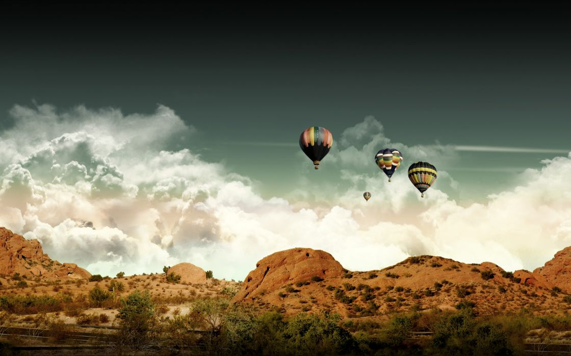 Clouds landscapes desert hot air balloons skyscapes photomanipulations wallpaper