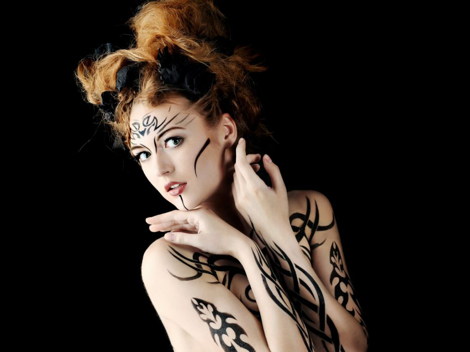Women redheads green eyes body painting wallpaper