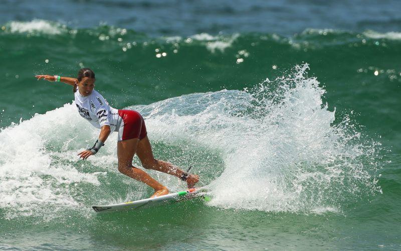 Women seas waves sports surfing surfboards surfers wallpaper