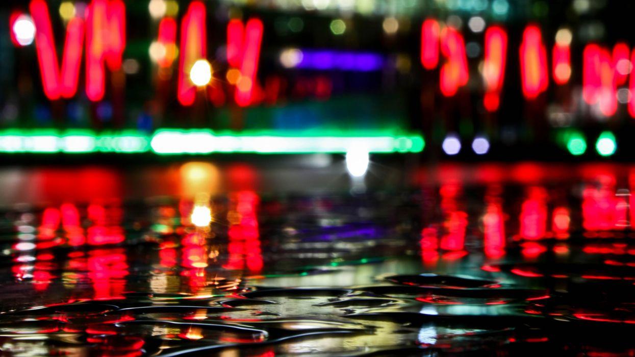 Water night city lights depth of field wallpaper