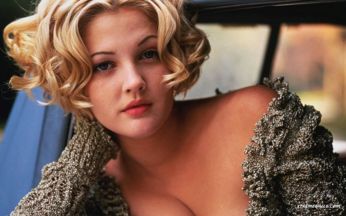 Blondes women actress celebrity drew barrymore short hair cardigan wallpaper