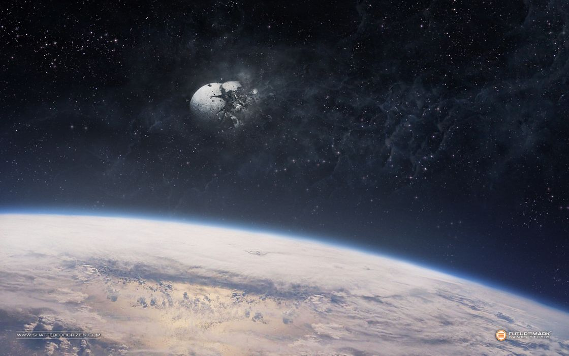Outer space moon earth disasters wallpaper