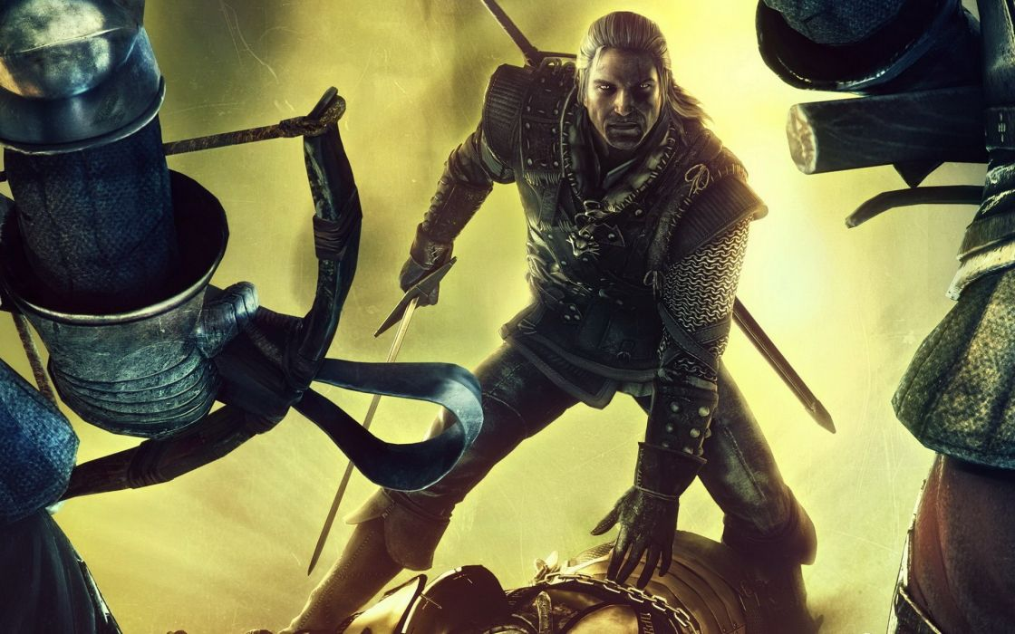 Gaming geralt of rivia the witcher 2 geralt crossbows chain mail gauntlets swords wallpaper