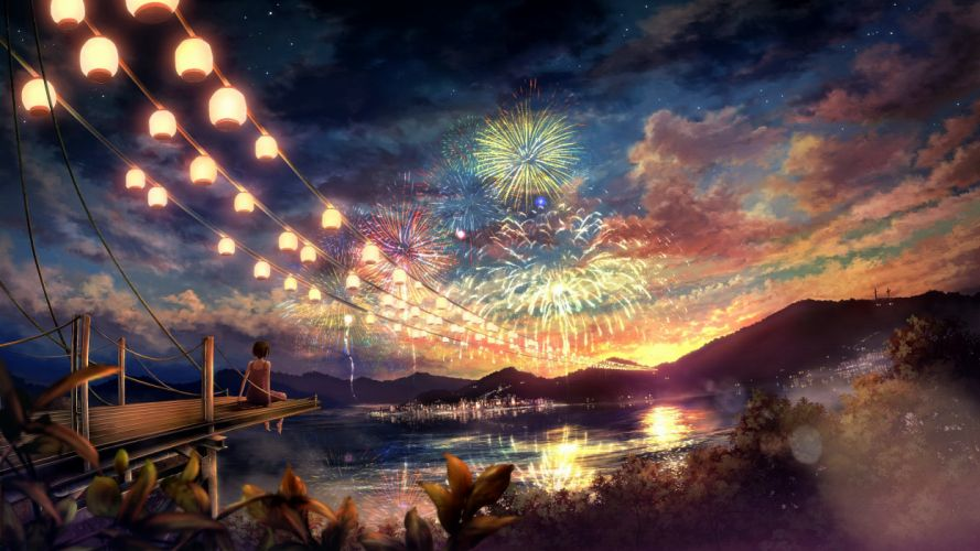 Clouds landscapes trees fireworks scenic anime anime girls cities chinese lantern wallpaper