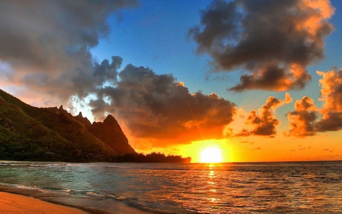 Sunset mountains clouds landscapes sun beach wallpaper