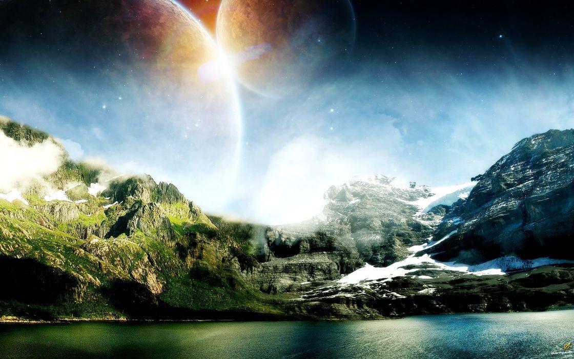 Landscapes planets science fiction wallpaper