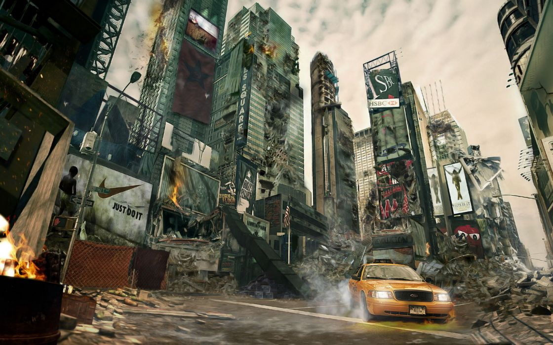 Cityscapes streets cars taxi apocalyptic photomanipulations wallpaper