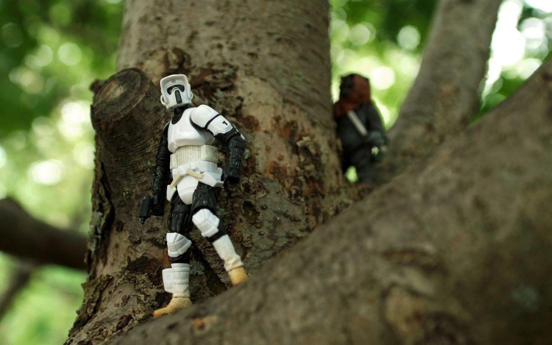 Star wars trees stormtroopers figurines wallpaper