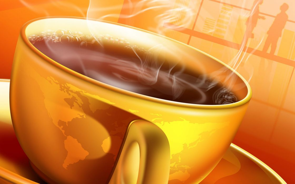 World coffee cups drawn wallpaper