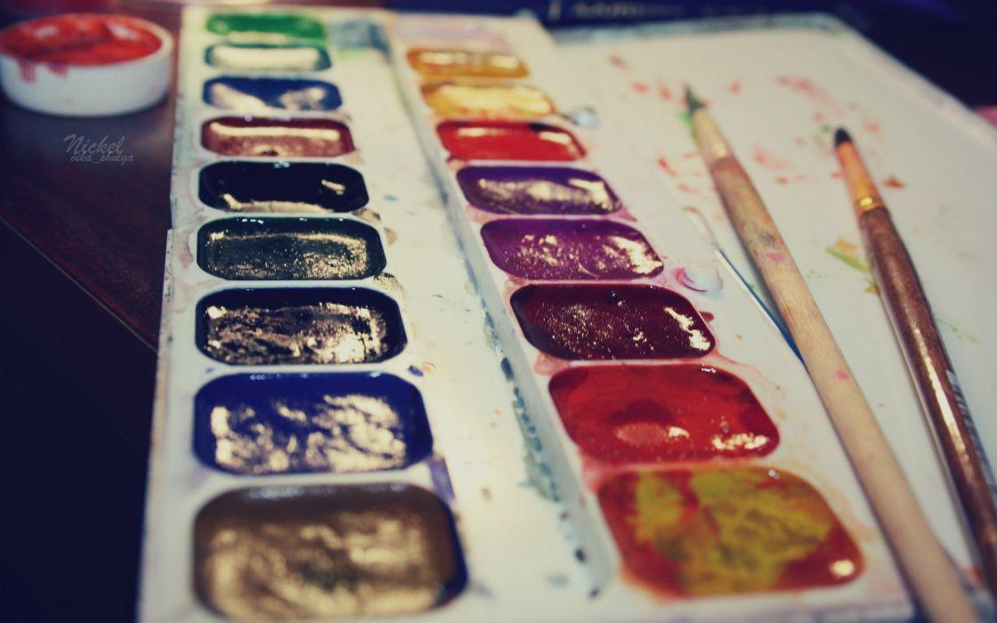 Multicolor paint paint brushes wallpaper