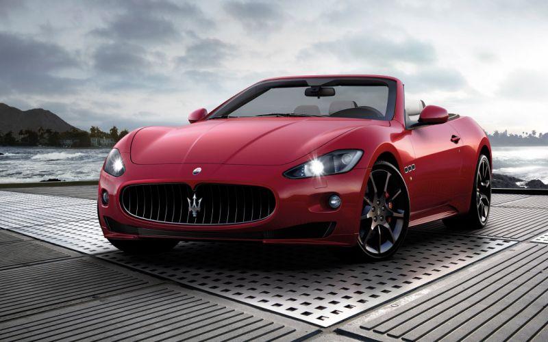 Red cars vehicles convertible maserati grancabrio wallpaper