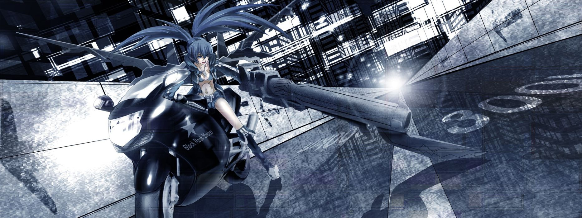 Black rock shooter stars motorbikes anime girls black hair wallpaper