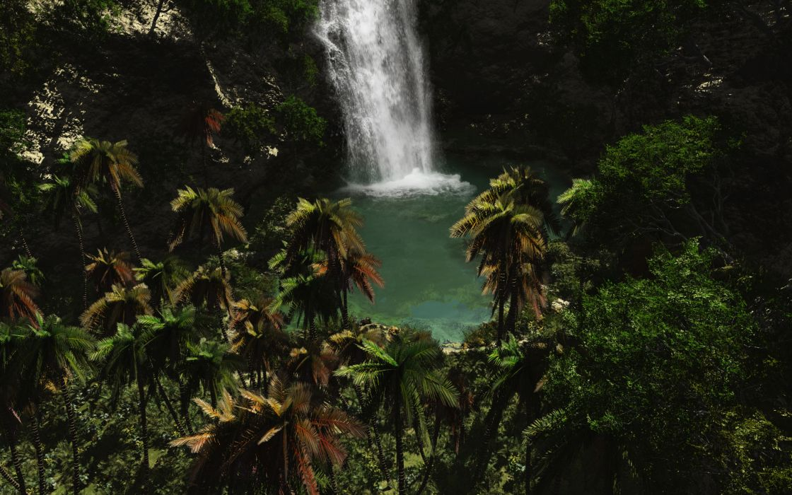 Tropical paradise palm trees waterfalls wallpaper