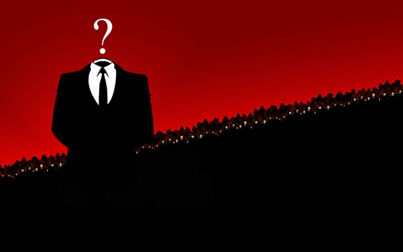 Anonymous red suit wallpaper