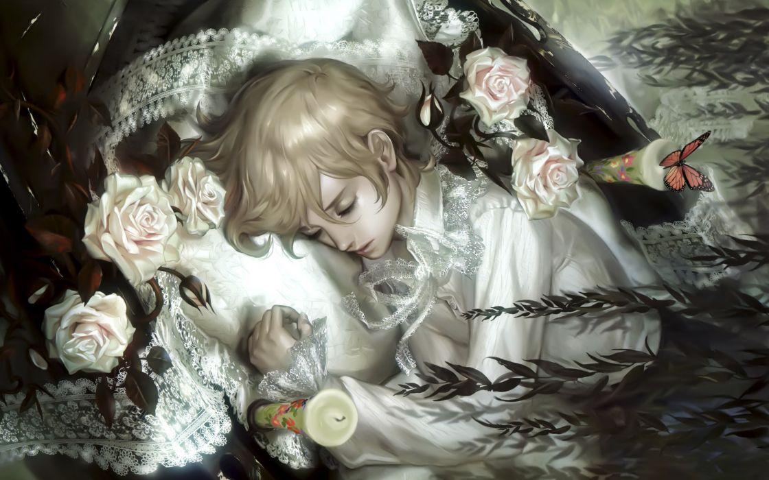 Blondes flowers short hair lying down artwork coffin candles anime girls midori foo wallpaper