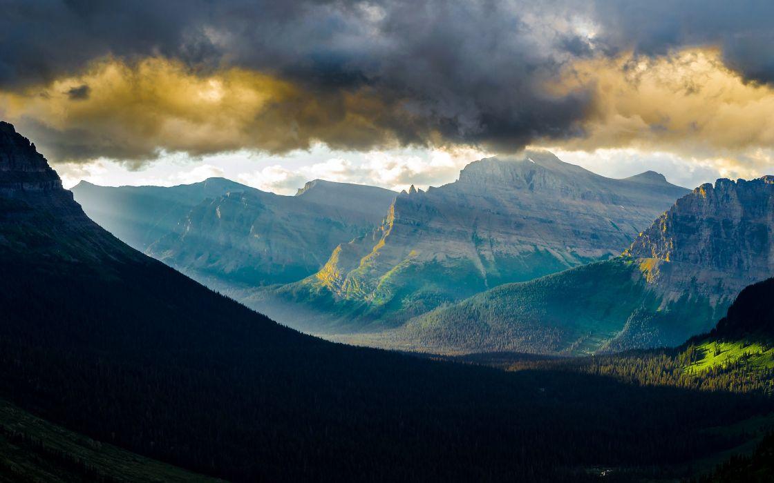 Mountains clouds landscapes nature forest hills valley usa glacier sunlight montana logan pass wallpaper