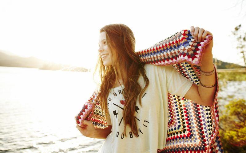 Women sun models rivers wallpaper