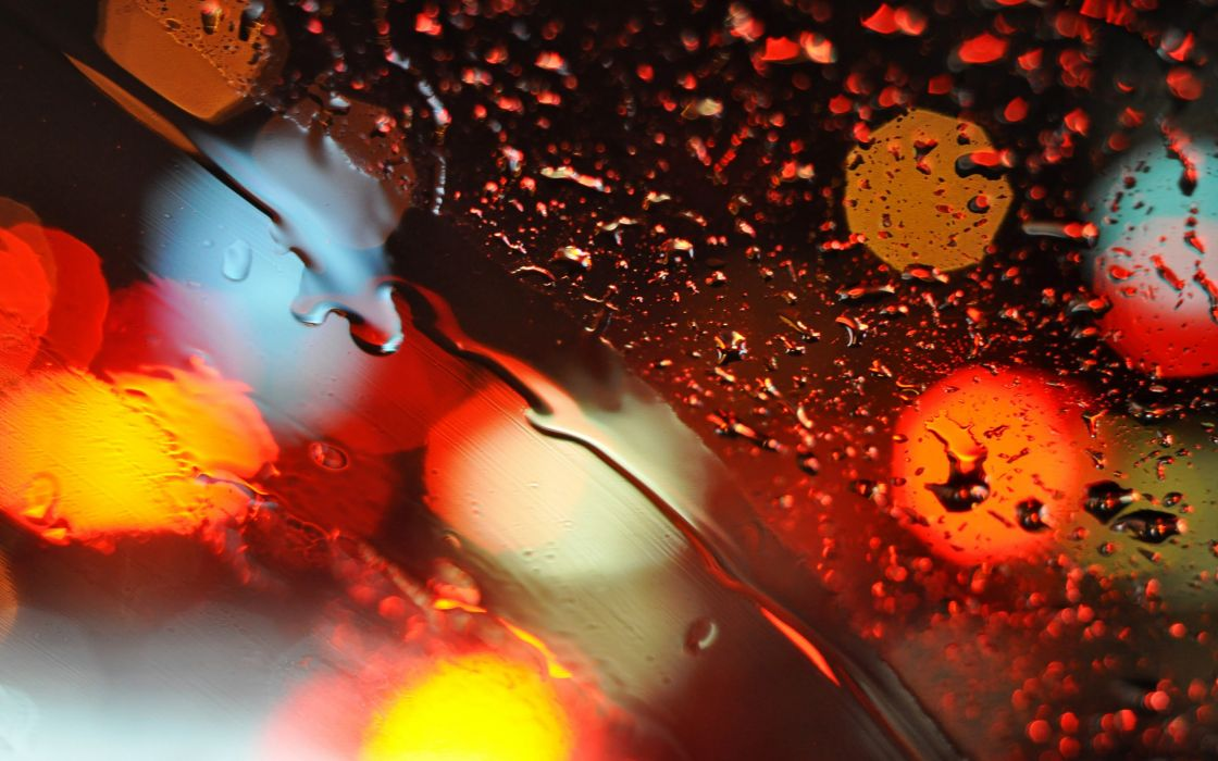 Lights glass bokeh water drops wallpaper