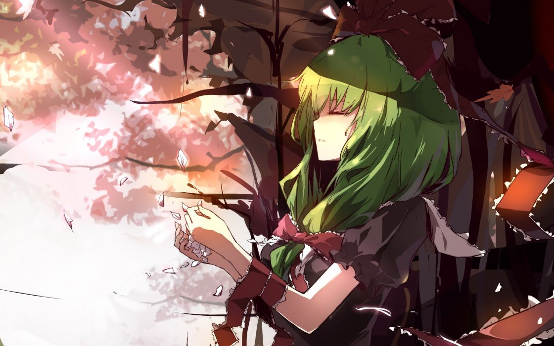 Video games touhou long hair ribbons green hair bows closed eyes kagiyama hina wallpaper