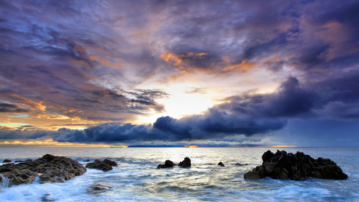 Ocean clouds nature seas rocks skyscapes wallpaper