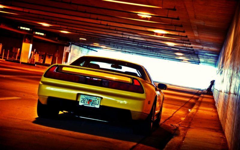 Yellow cars honda nsx tunnel jdm wallpaper