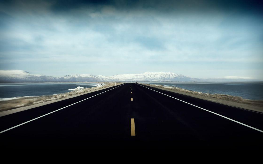 Clouds landscapes roads wallpaper