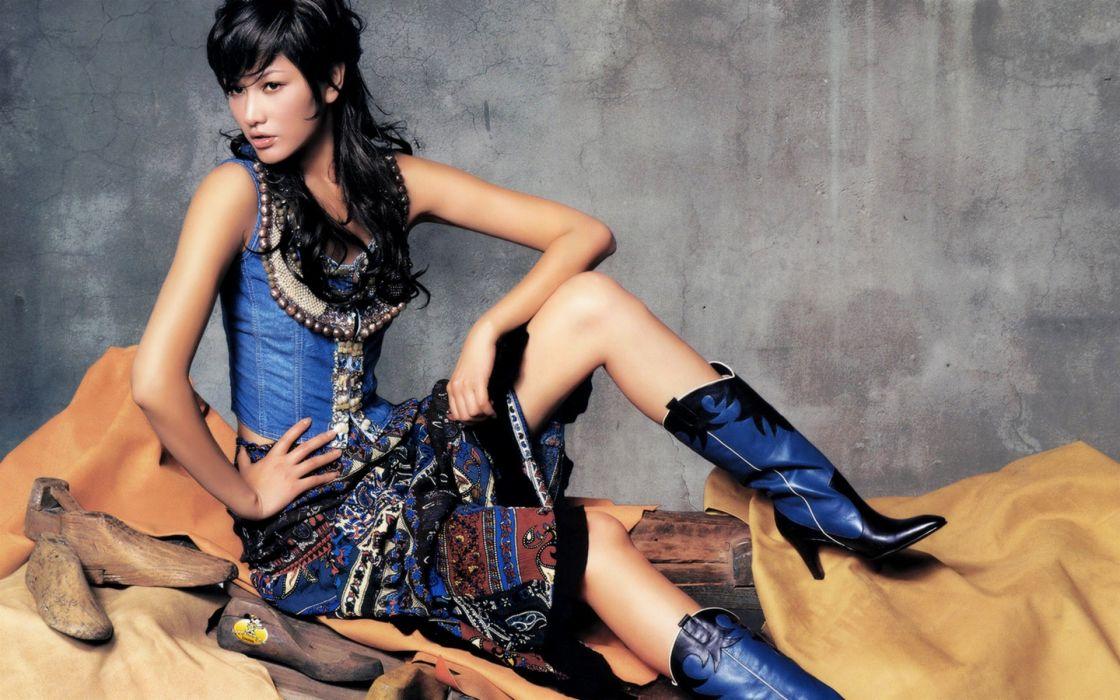Boots women blue asians cowgirls wallpaper